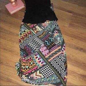 80s Print Hot Kiss Very SOFT Maxi Skirt, Medium